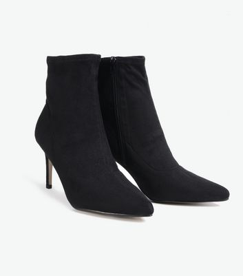 black suedette pointed heeled sock boots new look