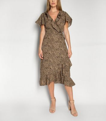 Gini London Brown Leopard Print Ruffle Midi Dress New Look