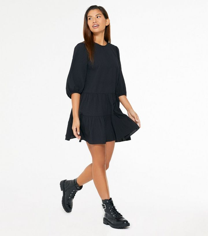 Black Puff Sleeve Tiered Smock Dress New Look