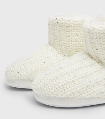 shop for Off White Knit Sequin Faux Fur Lined Boot Slippers New Look Vegan at Shopo