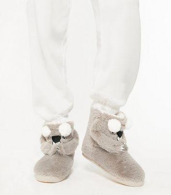 shop for Grey Faux Fur Koala Boot Slippers New Look Vegan at Shopo
