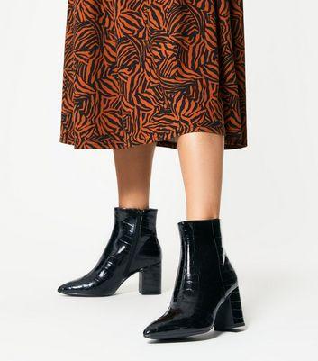 Black Faux Croc Heeled Ankle Boots