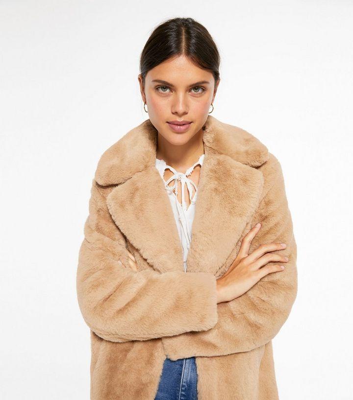 Camel Faux Fur Longline Coat New Look, New Look White Faux Fur Longline Coat