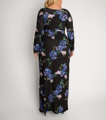 Click to view product details and reviews for Aarya Curve Black Floral Long Sleeve Wrap Maxi Dress New Look.