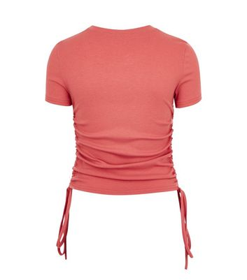 Click to view product details and reviews for Cameo Rose Rust Ribbed Ruched Tie Side T Shirt New Look.