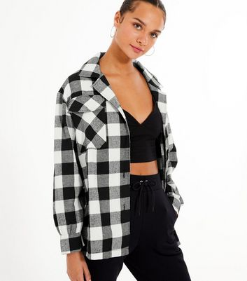 Cameo Rose Black Check Oversized Shirt New Look