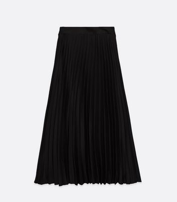 Click to view product details and reviews for Petite Black Pleated Satin Midi Skirt New Look.