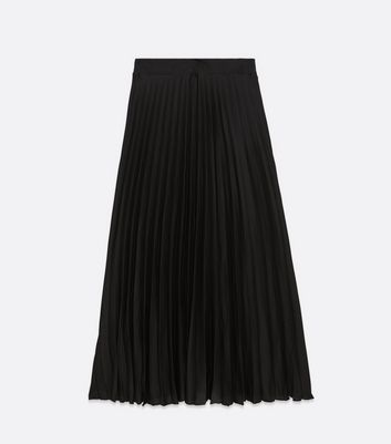 Click to view product details and reviews for Tall Black Pleated Satin Midi Skirt New Look.