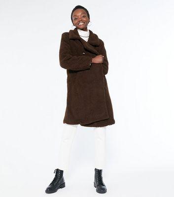 Blue Vanilla Dark Brown Double Breasted Teddy Coat | New Look