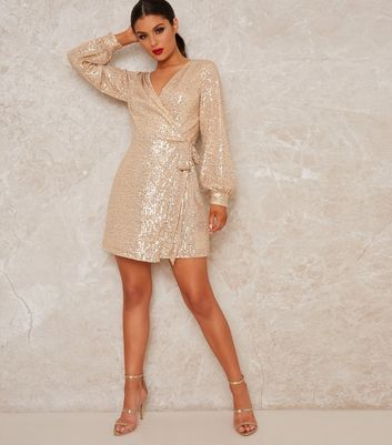 Click to view product details and reviews for Chi Chi London Gold Sequin Wrap Mini Dress New Look.