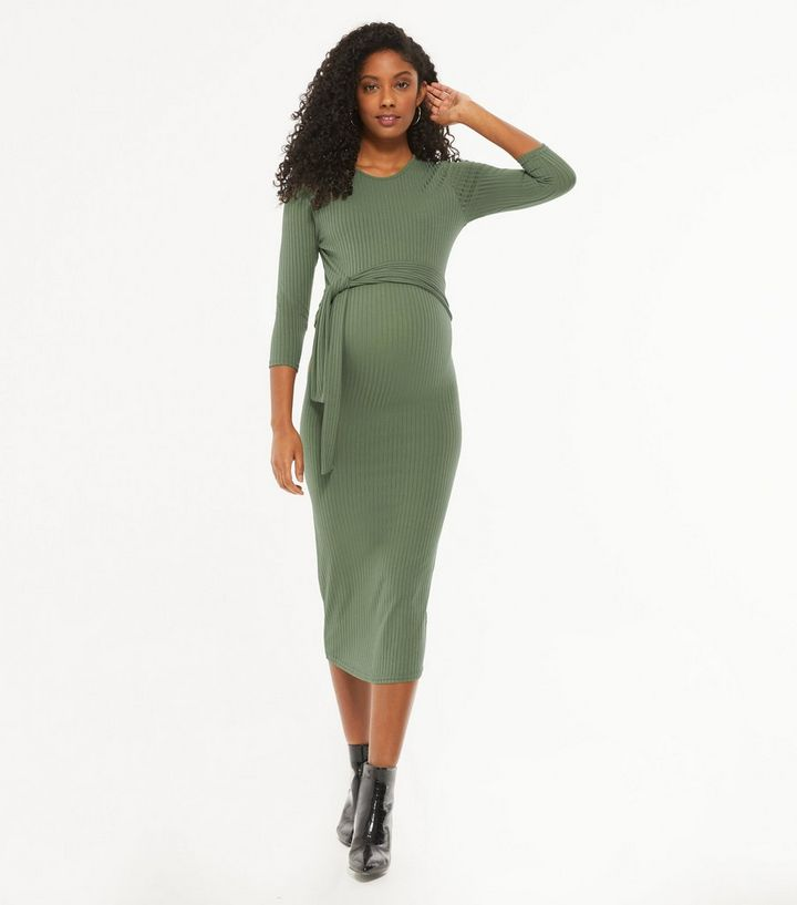 Maternity Olive Ribbed Tie Waist Midi Dress