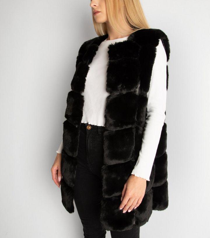 Gini London Black Pelted Faux Fur Gilet, Fake Fur Coats London