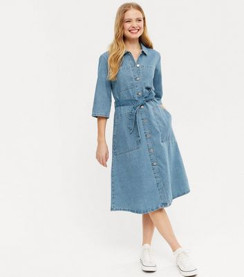 JDY Pale Blue Denim Belted Midi Shirt Dress   New Look