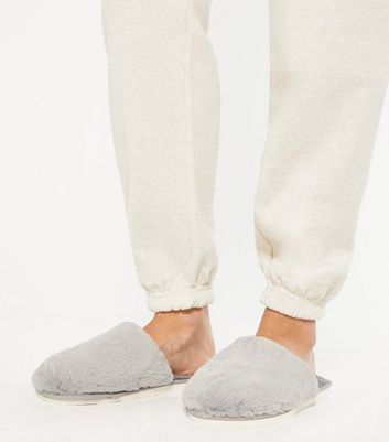 shop for Grey Fluffy Faux Fur Mule Slippers New Look at Shopo