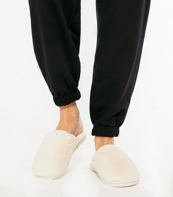 shop for Off White Fluffy Faux Fur Mule Slippers New Look at Shopo