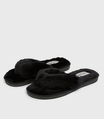 shop for Black Fluffy Faux Fur Flip Flop Slippers New Look at Shopo