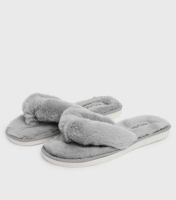 shop for Grey Fluffy Faux Fur Flip Flop Slippers New Look at Shopo
