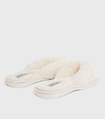shop for Cream Fluffy Faux Fur Flip Flop Slippers New Look at Shopo