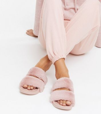 shop for Pink Faux Fur Double Strap Slider Slippers New Look at Shopo