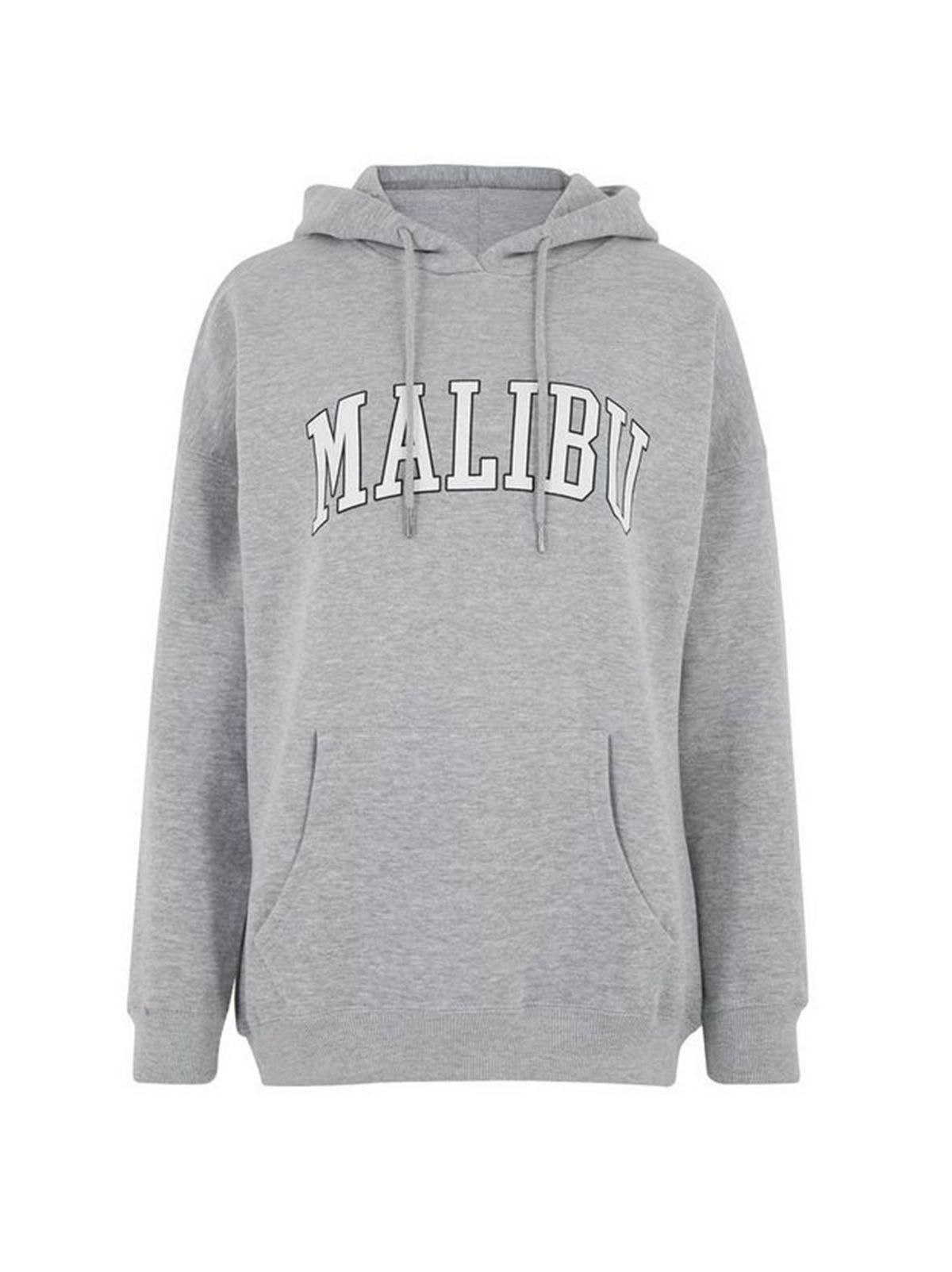 Grey Marl Malibu Logo Hoodie