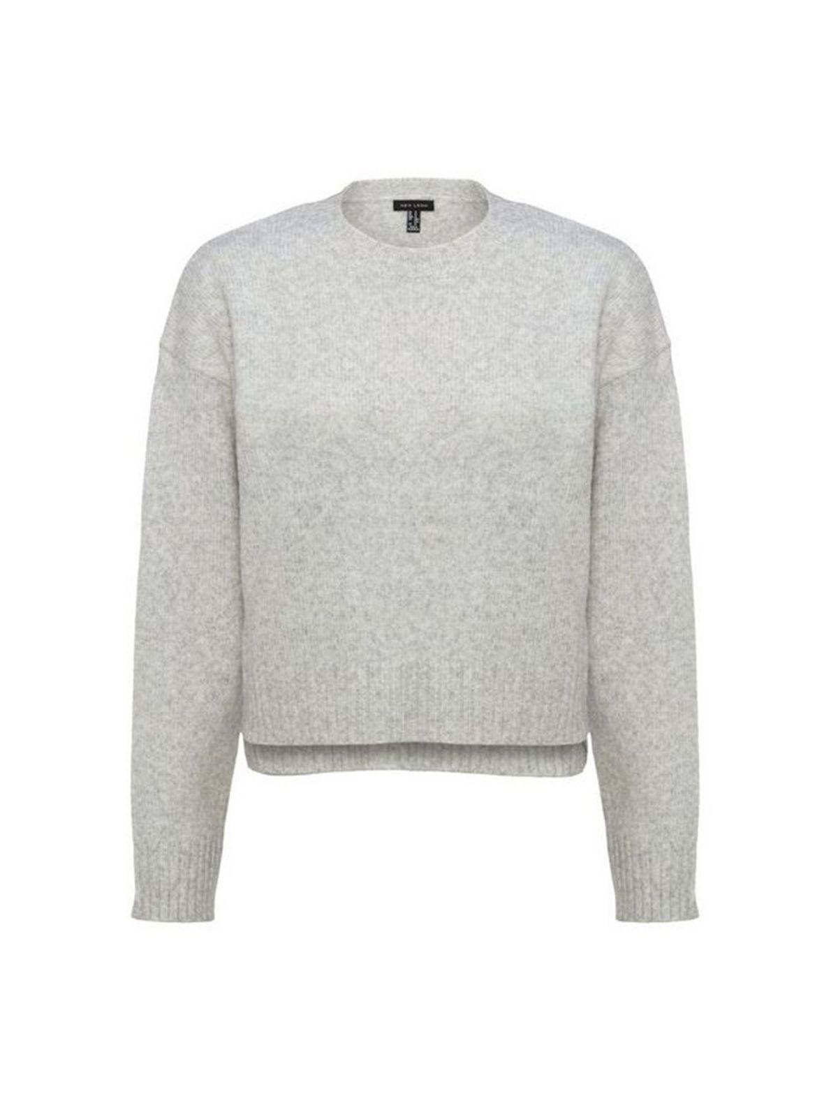 Pale Grey Fine Knit Crew Neck Jumper