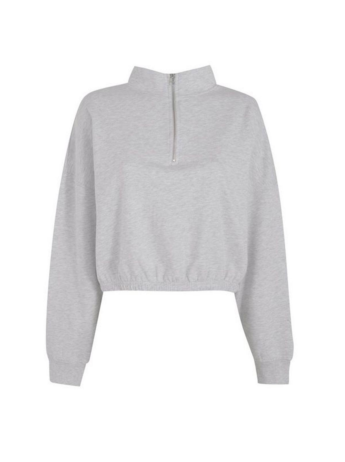 Pale Grey High Zip Neck Sweatshirt