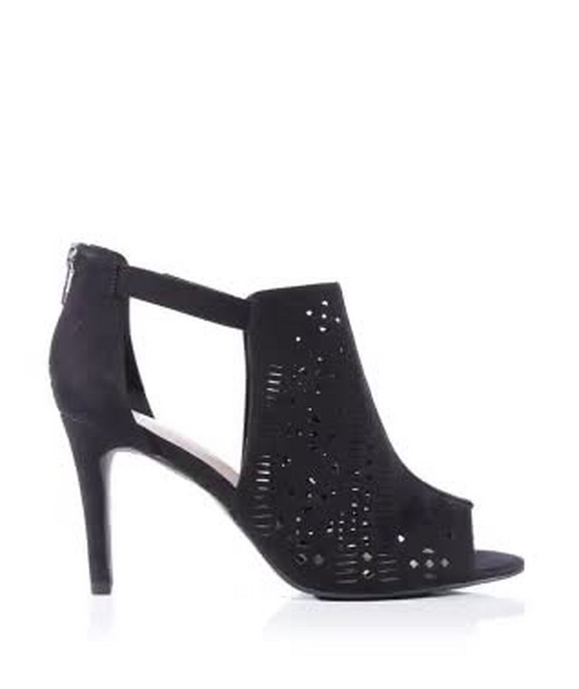 9113fe3fe853 Wide Fit Black Laser Cut Out Peep Toe Heeled Boots
