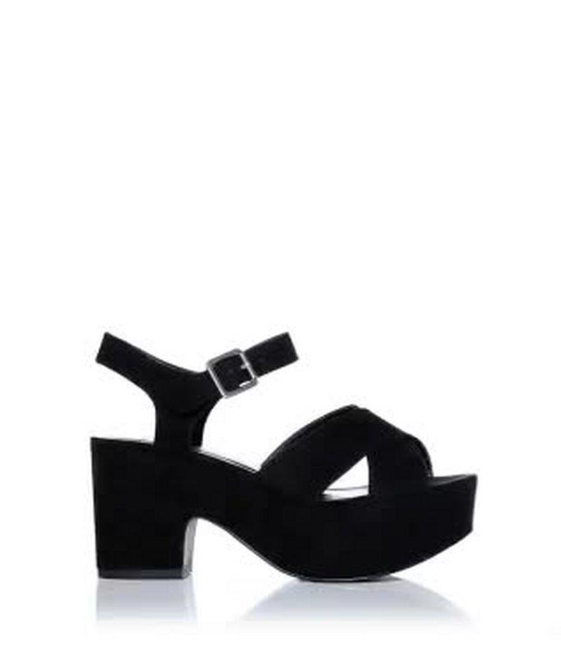 4edd9eab5d Wide Fit Black Suedette Platform Block Heels | New Look
